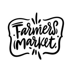 Farmers market hand drawn vector lettering. Modern brush logo.