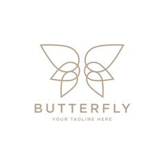 Butterfly logo. Beautiful decorative butterfly from intertwined lines. Logo for cosmetics, lingerie, jewelry store. - Vector