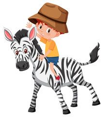 A boy riding zebra