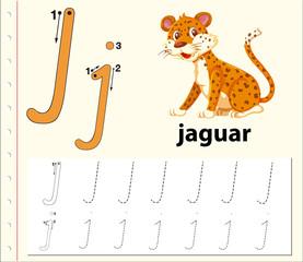 Letter J tracing alphabet worksheets