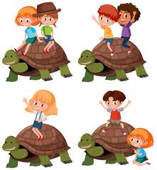 Set of kid riding turtle