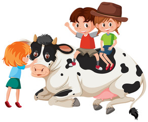 Children and cow on white background