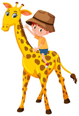 A boy riding giraffe