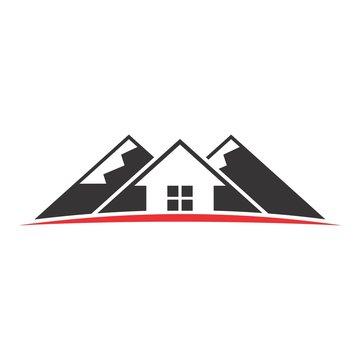 mountain and home vector logo.