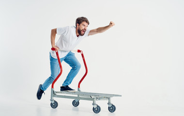 man on a trolley on an isolated background