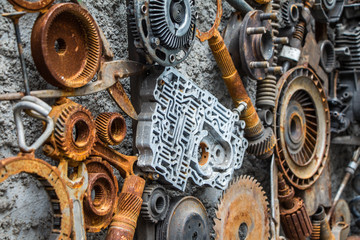 metal vintage machinery and engine parts gathered in patterns as steampunk background