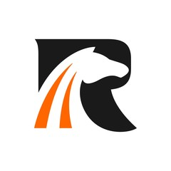 letter R with Horse symbol vector logo.