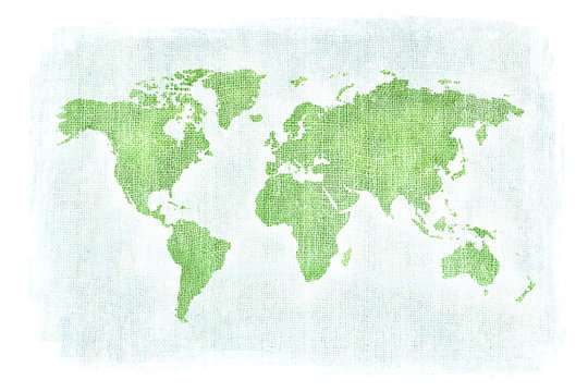 Textured illustration of map of the world with burlap linen background. White edges. Blue and Green texture.