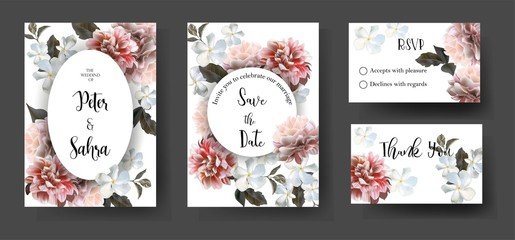 Romantic Chrysanthemum flower on set of cards .Wedding ornament concept decorative greeting card or invitation design background-vector - Vector