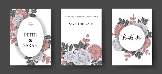 Flowers paper cut of set cards for wedding,invitation ,greeting and congratulation cards - vector - Vector