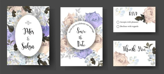 Set of romantic roses for wedding ,invitation or greeting cards -vector illustration - Vector