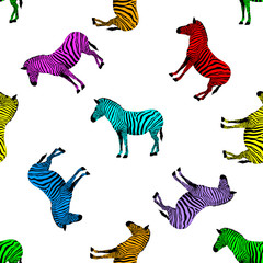 Zebra seamless pattern. Wild animal texture. Striped black and colorful. design trendy fabric texture. Vector illustration isolated on white background.