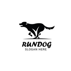 Running dog logo template isolated on white background