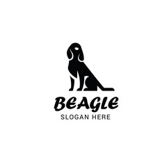 Beagle dog logo template isolated on white background
