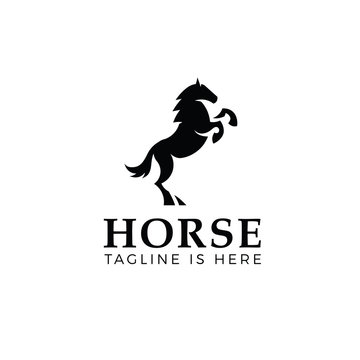 Prancing horse template isolated on white background