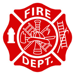 Fire Department Emblem St Florian Maltese Cross Red with White Outline