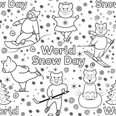 Seamless pattern with characters involved in winter sports. World Snow Day. Pigs skier, skater, snowboarder, skater .. Black and white illustration of lines. Vector.