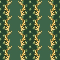 Golden baroque seamless pattern. Classic pattern with beetles