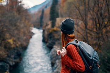 autumn river nature woman
