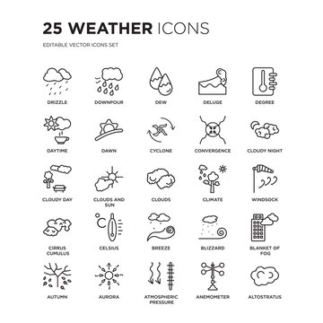 Set of 25 Weather linear icons such as Drizzle, Downpour, dew, deluge, degree, Cloudy night, Windsock, blanket fog, Aurora, vector illustration of trendy icon pack. Line icons with thin line stroke.