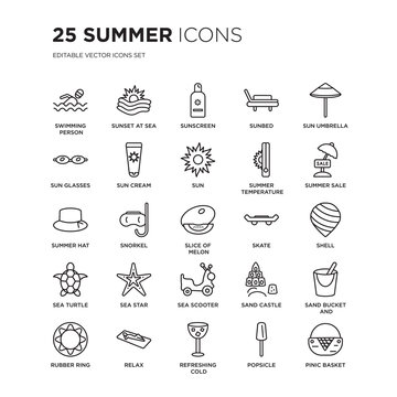 Set of 25 Summer linear icons such as Swimming person, Sunset at sea, Sunscreen, Sunbed, Sun umbrella, sale, Shell, vector illustration of trendy icon pack. Line icons with thin line stroke.