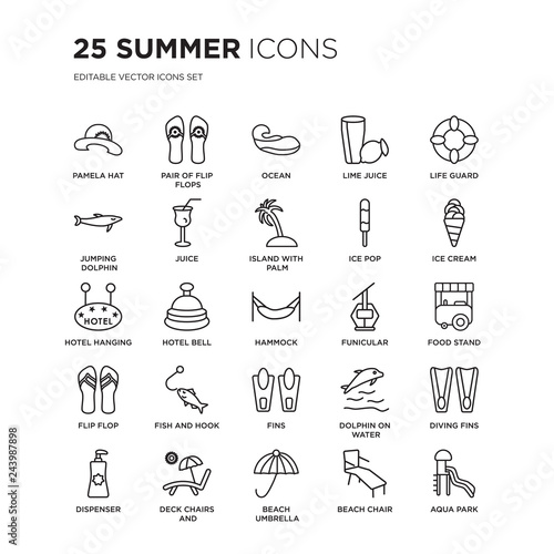 aa84fdfd1 Set of 25 Summer linear icons such as Pamela hat