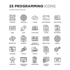 Set of 25 Programming linear icons such as Command, Cogwheel, Coding, Code terminal, review, Bug report, Website, Api, vector illustration of trendy icon pack. Line icons with thin line stroke.