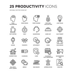 Set of 25 Productivity linear icons such as Mind tachometer, gears, Charge, Man and dollar coin, Light bulb, vector illustration of trendy icon pack. Line icons with thin line stroke.