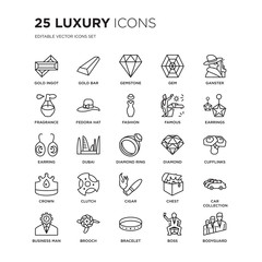 Set of 25 Luxury linear icons such as Gold ingot, bar, Gemstone, Gem, Ganster, Earrings, Cufflinks, Car collection, vector illustration of trendy icon pack. Line icons with thin line stroke.