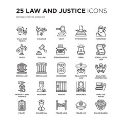 Set of 25 law and justice linear icons such as wills trusts, Violence, Veict, Typewriter, terrorism, Scroll with, vector illustration of trendy icon pack. Line icons with thin line stroke.