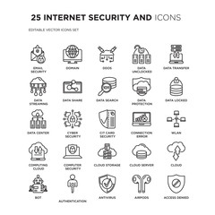 Set of 25 INTERNET SECURITY AND linear icons such as Email security, domain, Ddos, data unclocked, Data transfer, locked, vector illustration of trendy icon pack. Line icons with thin line stroke.