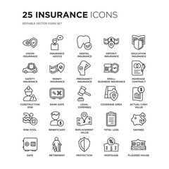 Set of 25 Insurance linear icons such as vision insurance, insurance advice, dental deposit, vector illustration of trendy icon pack. Line icons with thin line stroke.