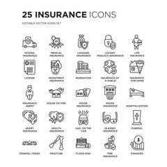 Set of 25 Insurance linear icons such as Moving insurance, Medical Luggage Locked padlock insurance, vector illustration of trendy icon pack. Line icons with thin line stroke.