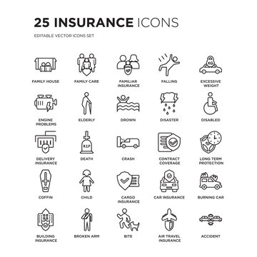 Set of 25 Insurance linear icons such as Family House, Care, Familiar insurance, Falling, vector illustration of trendy icon pack. Line icons with thin line stroke.