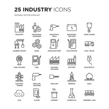 Set of 25 Industry linear icons such as Industry, industrial Engineer, Drill, Battery, Hook crane, vector illustration of trendy icon pack. Line icons with thin line stroke.