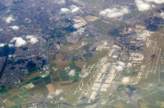 Charles de Gaulle airport, aerial view