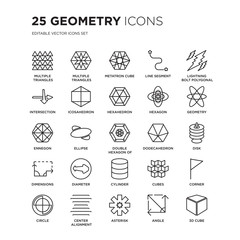 Set of 25 Geometry linear icons such as Multiple triangles triangle, inside hexagon, Metatron cube, Line segment, vector illustration of trendy icon pack. Line icons with thin line stroke.