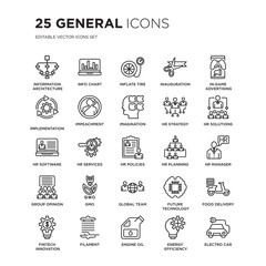 Set of 25 general linear icons such as information architecture, info chart, inflate tire, inauguration, in-game advertising, vector illustration of trendy icon pack. Line icons with thin line stroke.