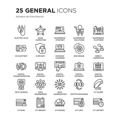 Set of 25 general linear icons such as electric plug, edge computing, ecommerce strategy, solutions, vector illustration of trendy icon pack. Line icons with thin line stroke.