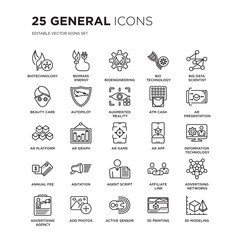 Set of 25 general linear icons such as biotechnology, biomass energy, bioengineering, bio technology, big data scientist, vector illustration of trendy icon pack. Line icons with thin line stroke.