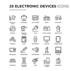 Set of 25 Electronic devices linear icons such as Satellite dish, rotisserie, Rice cooker, Radio, Projector, percolator, vector illustration of trendy icon pack. Line icons with thin line stroke.