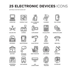 Set of 25 Electronic devices linear icons such as Computer, Compact disc, Cold-pressed juicer, Charger, cell phone, vector illustration of trendy icon pack. Line icons with thin line stroke.