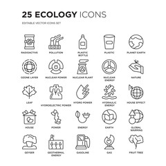 Set of 25 Ecology linear icons such as Radioactive, Pollution, Plastic bottle, Plastic, Planet earth, Nature, house effect, vector illustration of trendy icon pack. Line icons with thin line stroke.