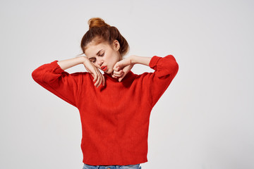 woman in red sweater fashion
