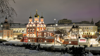 Moscow city historical skyline panorama winter wonderland night street view of park at historic old town centre near kremlin red square with retro beautiful church with light tourism  travel landscape