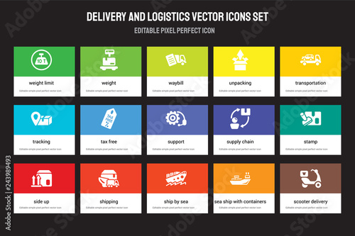 Set of 15 flat delivery and logistics icons - weight limit