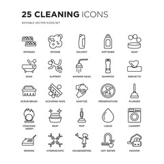 Set of 25 Cleaning linear icons such as Sponges, Sponge, Solvent, Softener, Soap, Serviette, Plunger, Laundry, Hygroscopic, vector illustration of trendy icon pack. Line icons with thin line stroke.
