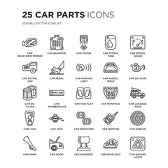 Set of 25 Car parts linear icons such as car rear-view mirror, radiator, piston, petrol tank, gauge, vector illustration of trendy icon pack. Line icons with thin line stroke.