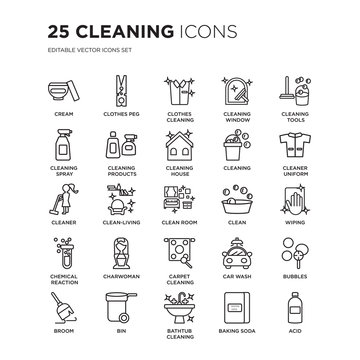 Set of 25 Cleaning linear icons such as Cream, Clothes peg, Cleaning, Window, tools, Cleaner Uniform, vector illustration of trendy icon pack. Line icons with thin line stroke.