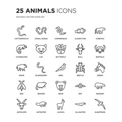 Set of 25 animals linear icons such as cottonmouth, coral snake, copperhead, Clown fish, Cheetah, Buffalo, Zebra, Badger, vector illustration of trendy icon pack. Line icons with thin line stroke.